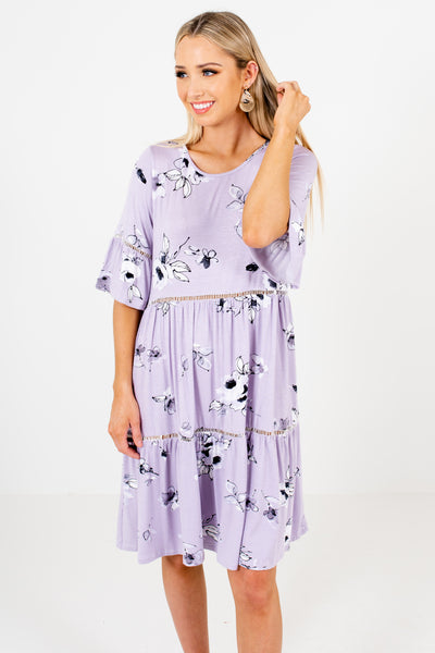 Lavender Purple Tiered Smock Dresses with Ladder Lace and Floral Print
