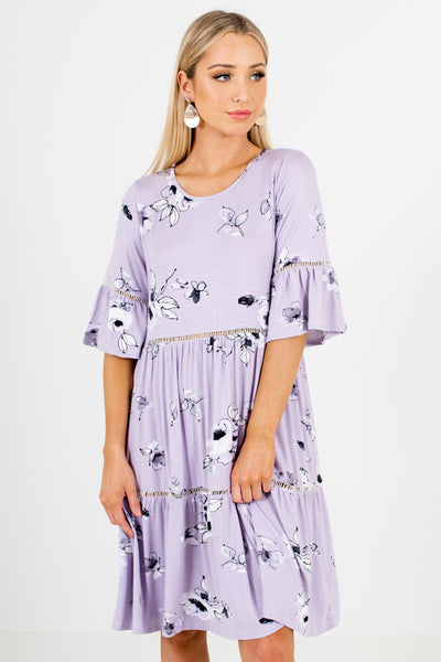 Lavender Purple Floral Print Oversized Tiered Smock Knee-Length Dresses