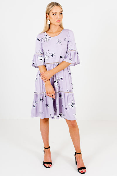 Lavender Purple Floral Print Oversized Bohemian Boutique Dresses