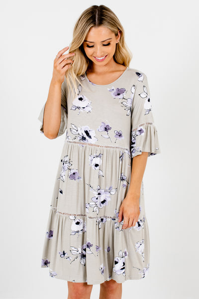 Sage Lavender Floral Oversized Tiered Smock Knee Length Dresses
