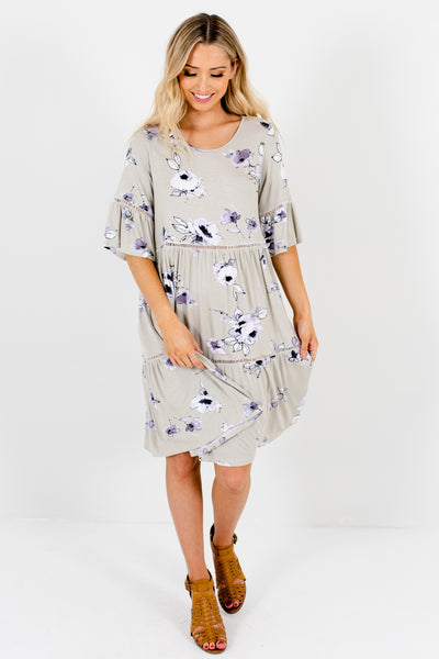 Sage Green Floral Print Knee-Length Boutique Dresses