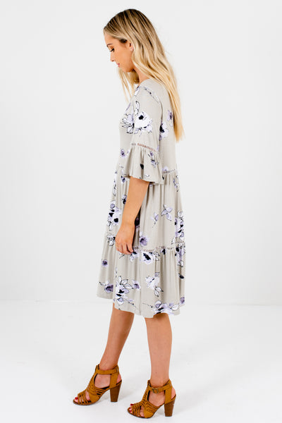 Sage Green Lavender Purple Black White Floral Knee-Length Dresses