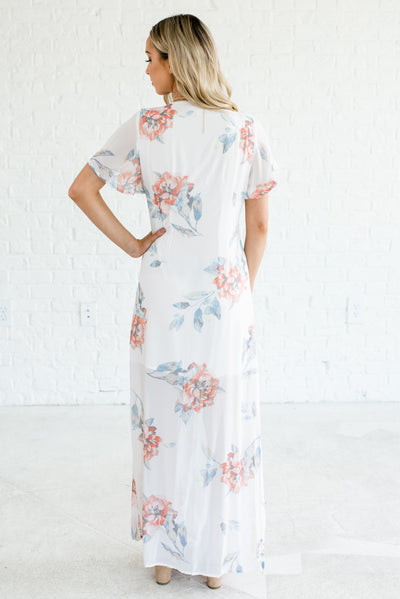 White Floral Women's Button-Up Front Boutique Maxi Dress