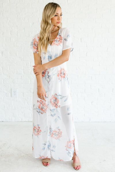 Women's White Floral Partially Lined Cute Boutique Maxi Dress