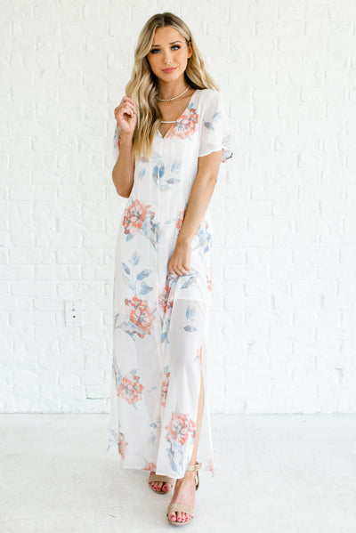 White Floral Patterned Boutique Maxi Dresses for Women
