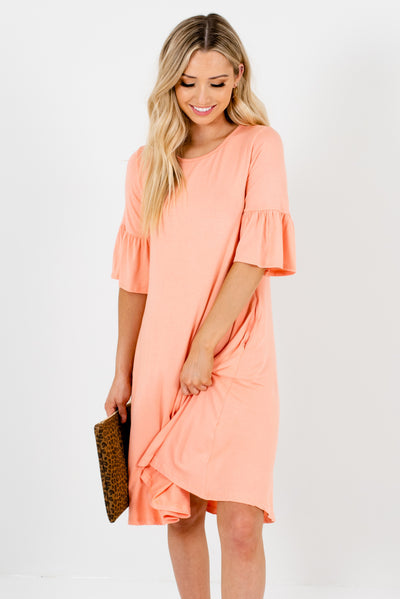 Peach Pink 3/4 Length Bell Sleeve Boutique Dresses for Women
