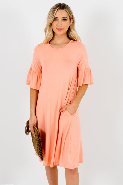 Peach Pink Knee-Length Soft and Stretchy Boutique Dresses for Women