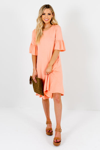 Women's Peach Pink Cute and Comfortable Boutique Knee-Length Dress