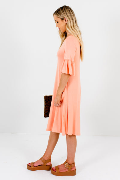 Women's Peach Pink Boutique Knee-Length Dresses with Pockets