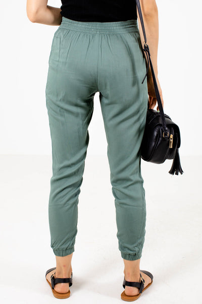 Women's Olive Lightweight Boutique Joggers