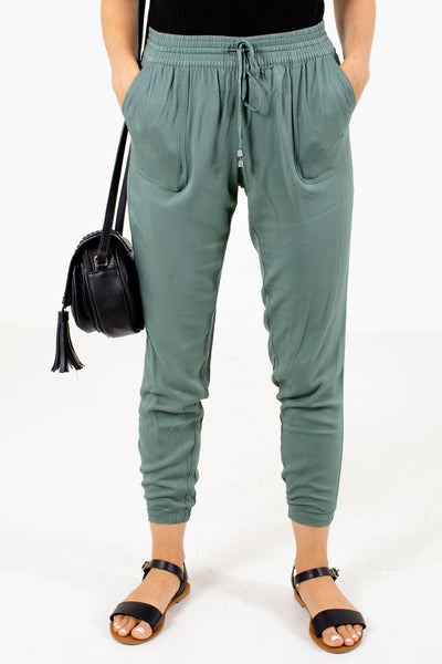 Olive Elastic Cuff Boutique Joggers for Women