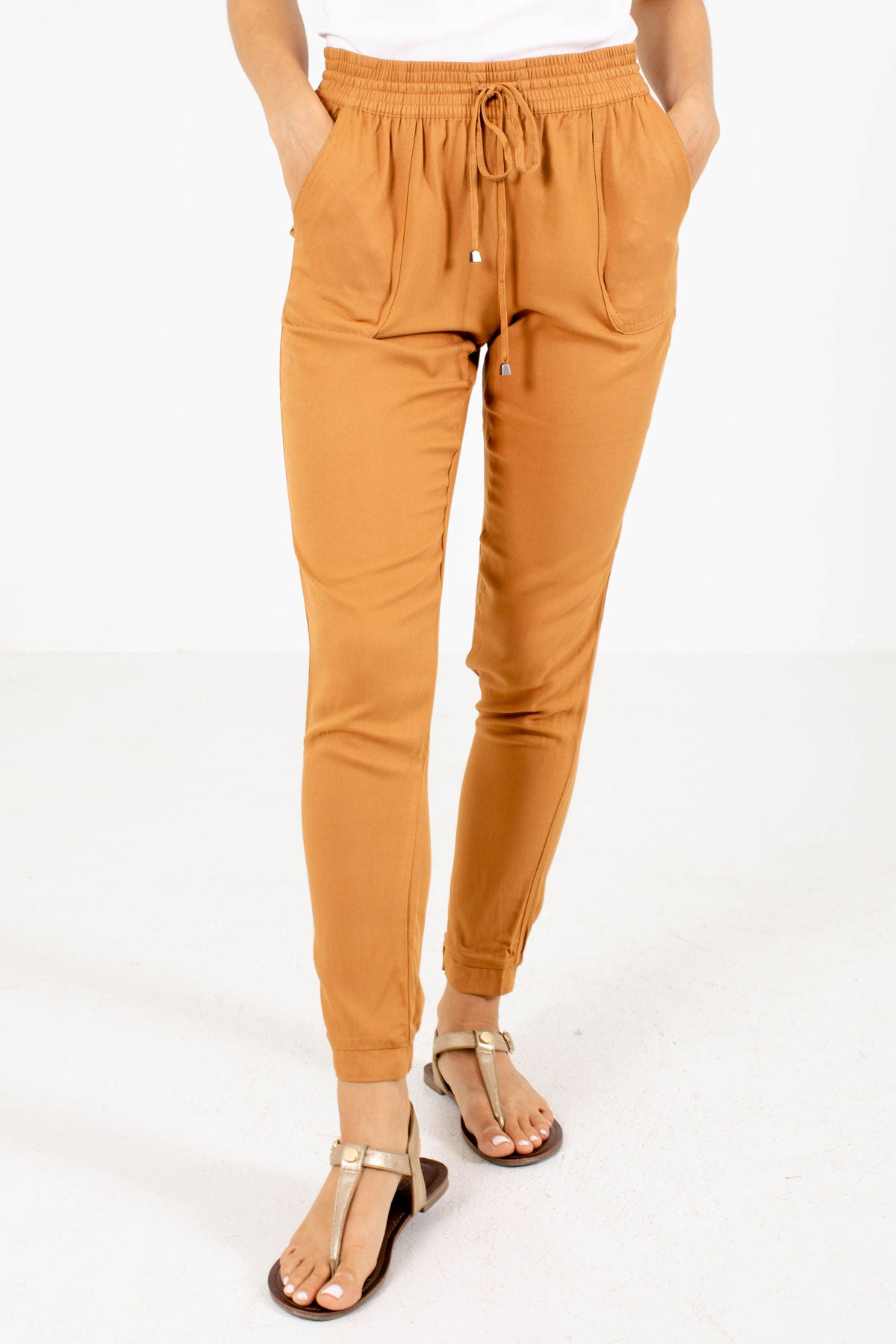 Mustard Elastic Waistband Boutique Joggers for Women