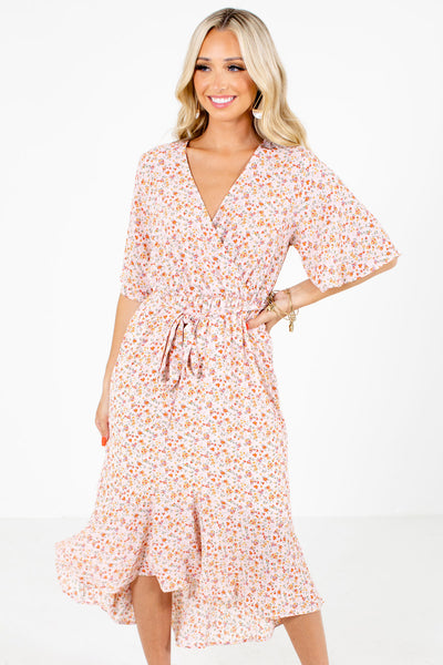 Pink Floral Boutique Midi Dresses for Women
