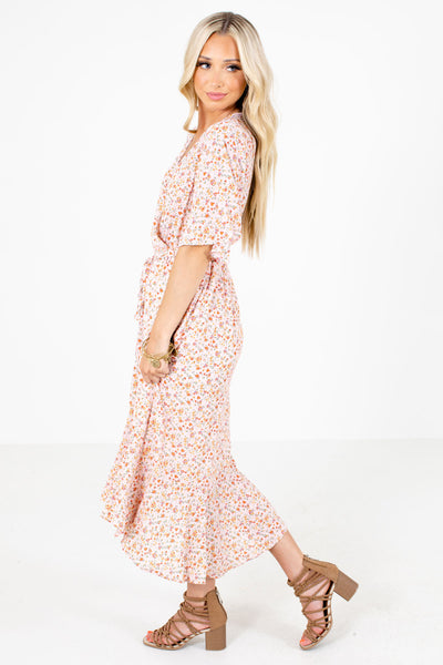 Pink Faux Wrap Bodice Boutique Midi Dresses for Women
