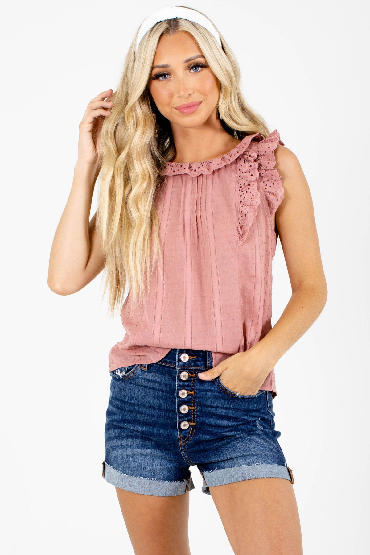 Pink Eyelet Detailed Boutique Tank Tops for Women
