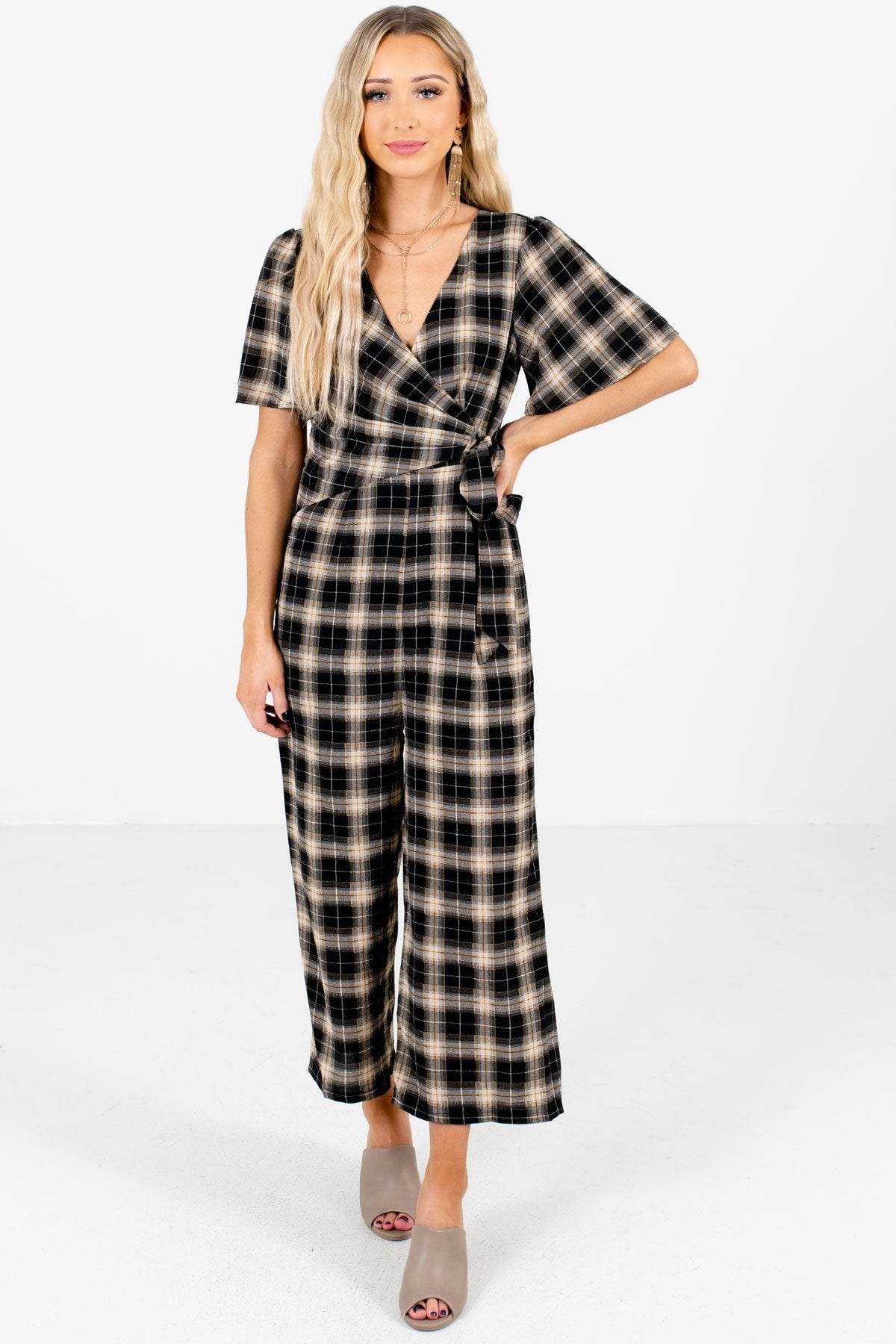Black Multicolored Plaid Patterned Boutique Jumpsuits for Women