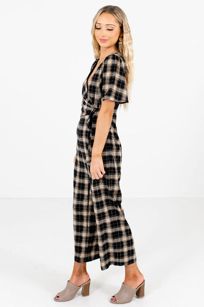 Black Partially Lined Boutique Jumpsuits for Women