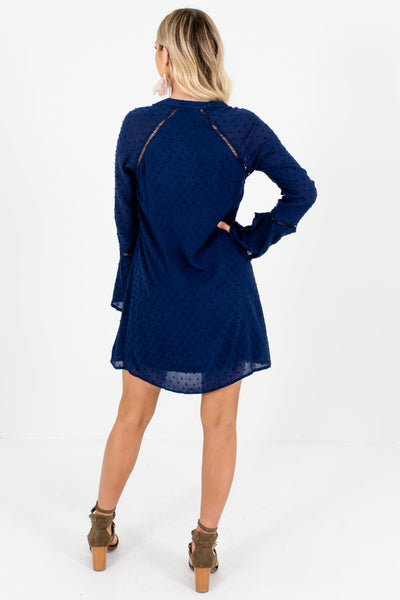 Navy Blue Bell Sleeve Textured Ladder Lace Mini Dresses for Women