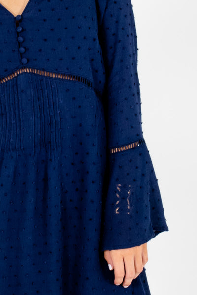 Navy Blue Peasant Mini Dresses with Ladder Lace and Bell Sleeves
