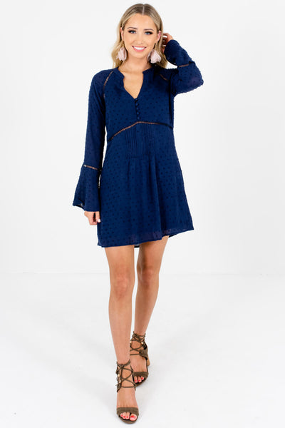 Navy Blue Textured Polka Dot Ladder Lace Mini Dresses for Women