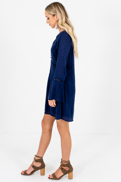 Navy Blue Textured Ladder Lace Peasant Boho Mini Dresses