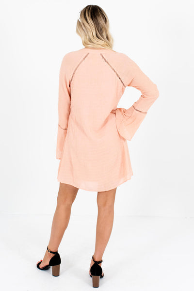 Salmon Pink Textured Ladder Lace Mini Dresses Affordable Online Boutique