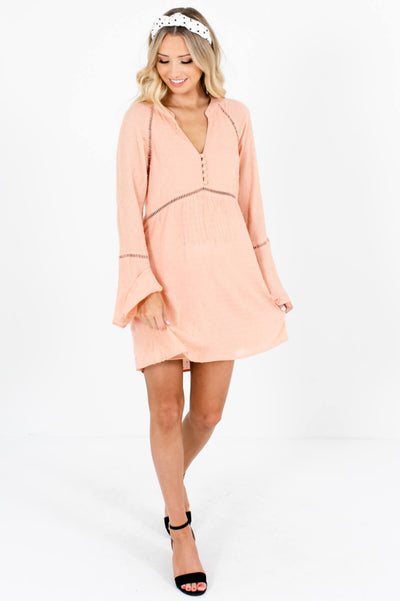 Pink Ladder Lace Polka Dot Textured Mini Dresses for Women