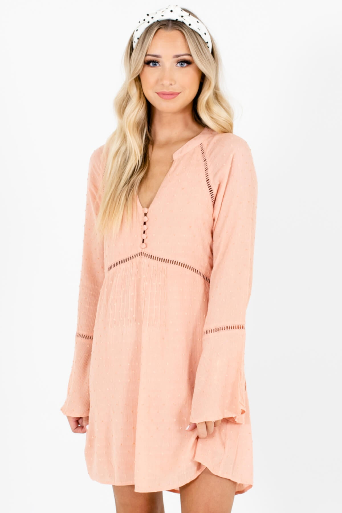 Pink Ladder Lace Textured Polka Dot Mini Dresses with Bell Sleeves