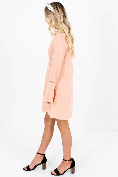 Salmon Pink Ladder Lace Mini Dresses Affordable Online Boutique