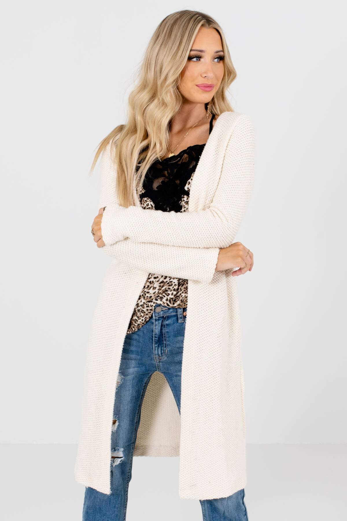 Cream High-Quality Knit Material Boutique Cardigans for Women
