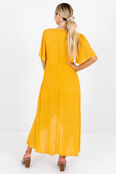 Women's Mustard Yellow Asymmetrical Button-Up Front Boutique Maxi Dress