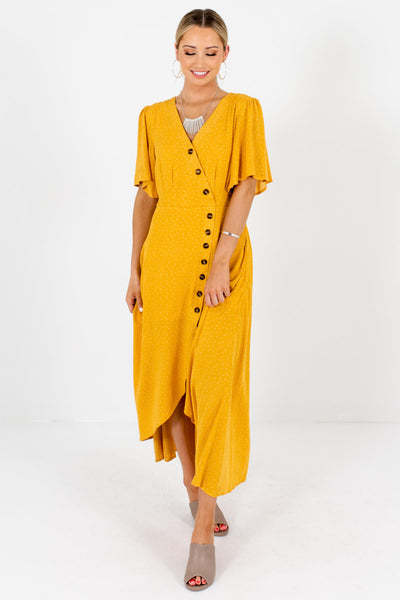 Women's Mustard Yellow Flutter Sleeve Boutique Maxi Dress