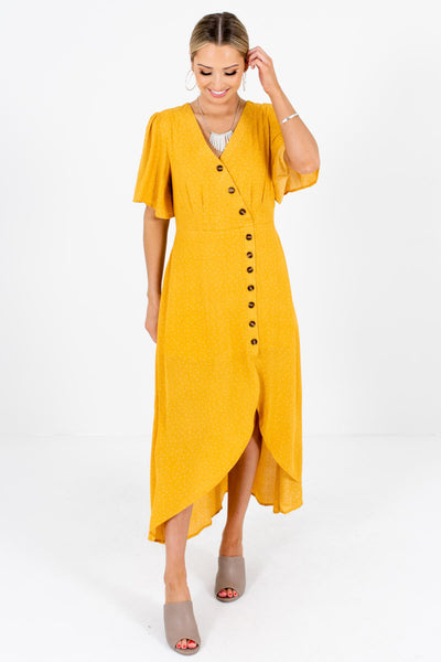 Mustard Yellow Polka Dot Cute and Comfortable Boutique Maxi Dresses for Women