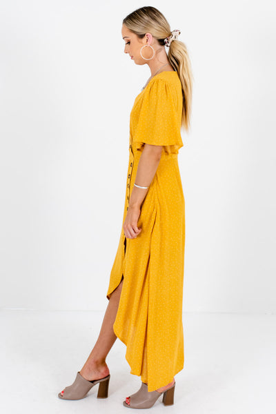 Mustard Yellow High-Low Hem Boutique Maxi Dresses for Women