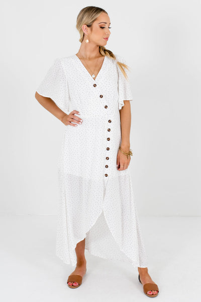 Women's White Polka Dot Cute and Comfortable Boutique Maxi Dresses