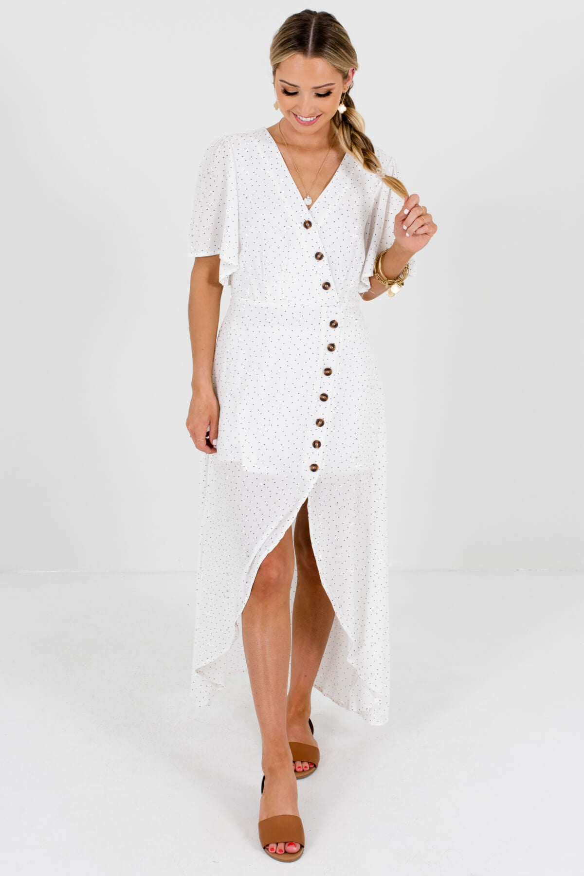 White and Black Polka Dot Patterned Boutique Maxi Dresses for Women