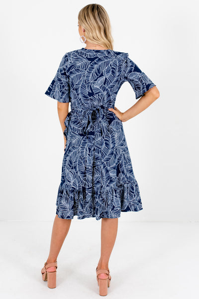 Navy Blue Tropical Palm Print Knee-Length Wrap Dresses for Women