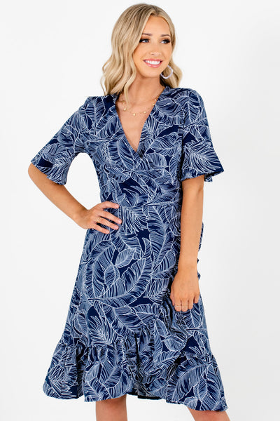 Navy Blue White Tropical Palm Print Knee-Length Wrap Dresses