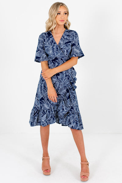 Navy Blue White Palm Leaf Print Boutique Wrap Dresses