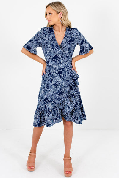 Navy Blue White Palm Leaf Print Wrap Dresses for Women