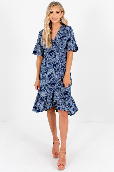 Navy Blue White Palm Print Wrap Dresses Affordable Boutique
