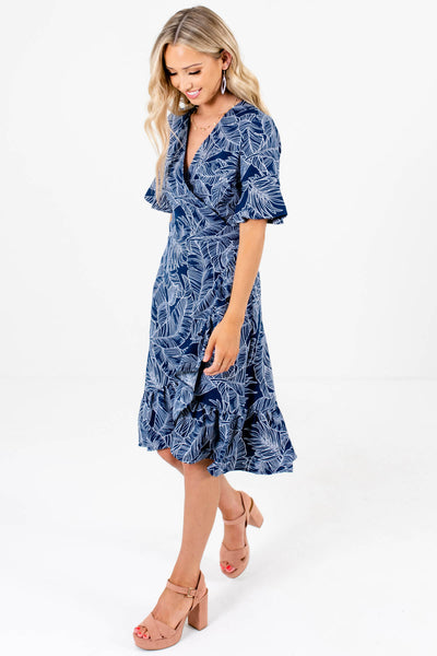 Navy Blue Palm Leaf Print Knee-Length Wrap Dresses