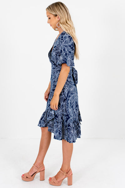Navy Blue White Palm Leaf Print Knee-Length Wrap Dresses