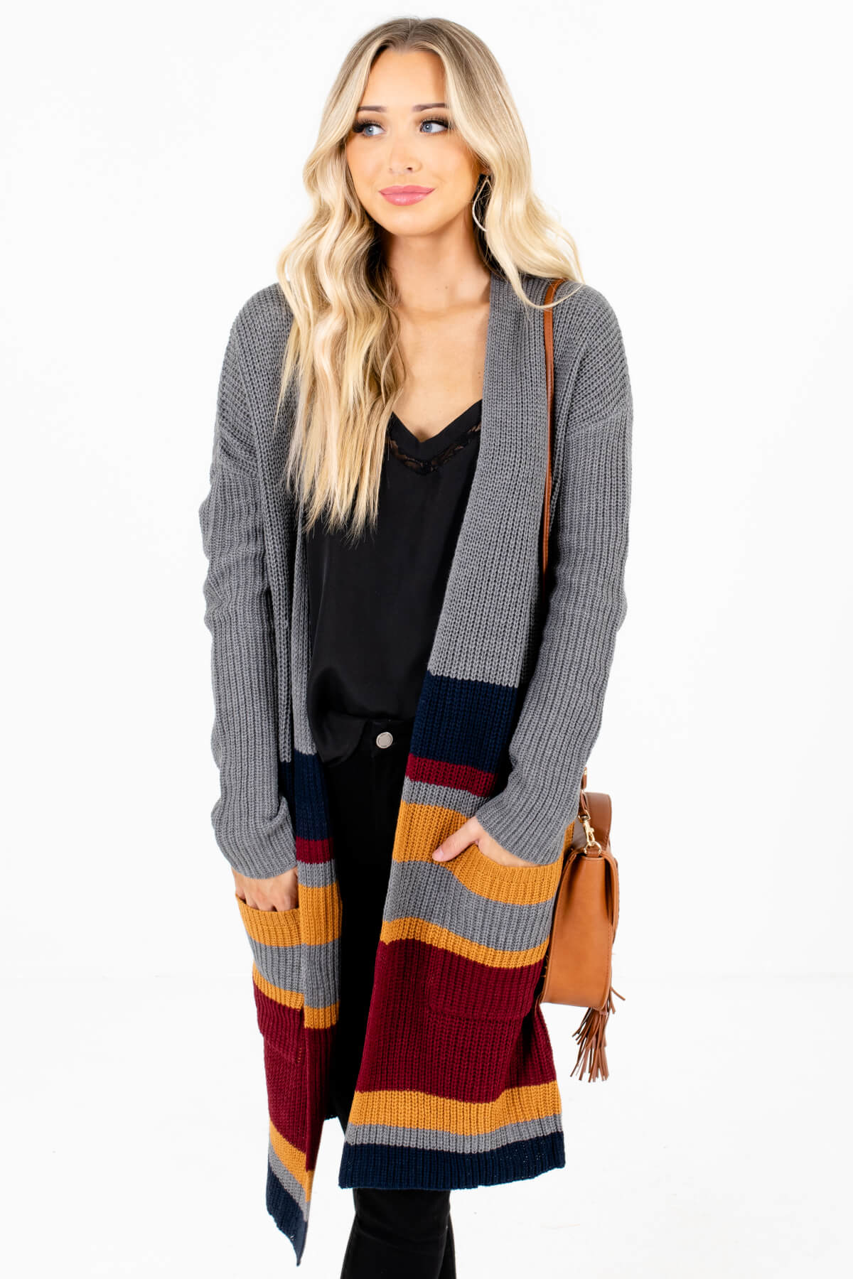 Gray Multicolored Striped Boutique Cardigans for Women