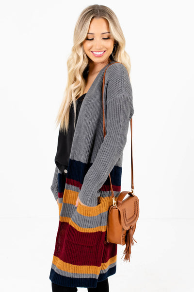 Gray Long Length Boutique Cardigans for Women