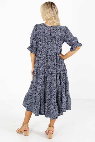 Women's Navy Tiered Ruffle Style Boutique Midi Dress