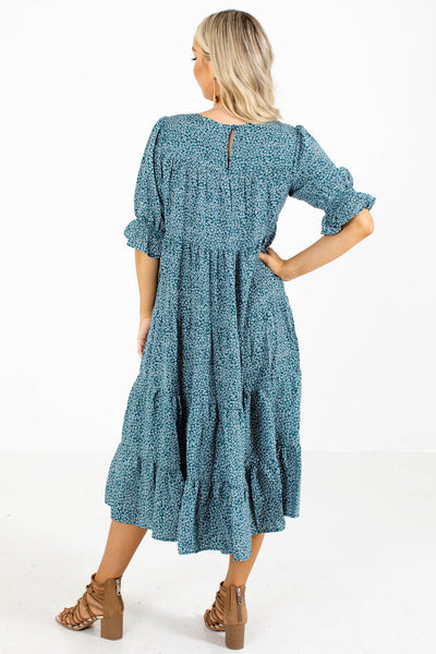 Women's Teal Keyhole Back Boutique Midi Dress