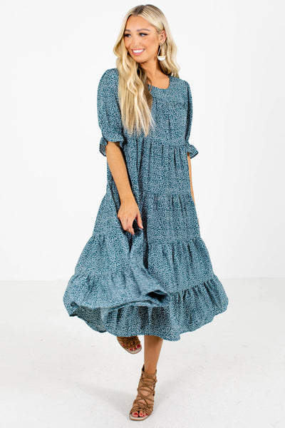 Teal Cute and Comfortable Boutique Midi Dresses for Women