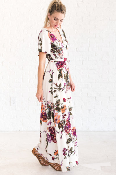 Ivory White Floral Maxi Dress for Work for Women