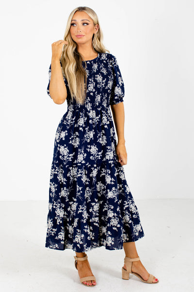 Navy Lightweight Material Dress Boutique Clothing for Women